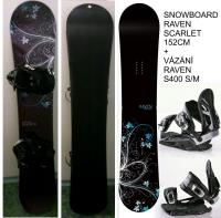 Snowboard Raven Scarlet 152cm + vázání Raven S400 sm